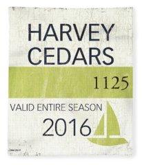 Beach Badge Harvey Cedars Fleece Blanket