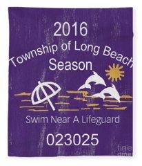 Beach Badge Long Beach Fleece Blanket