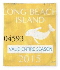 Beach Badge Long Beach Island Fleece Blanket