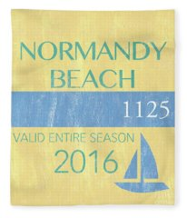 Beach Badge Normandy Beach 2 Fleece Blanket