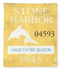 Beach Badge Stone Harbor Fleece Blanket