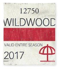 Beach Badge Wildwood 2 Fleece Blanket