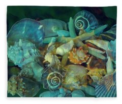 Fleece Blanket featuring the mixed media Beach Beauty 10  by Lynda Lehmann