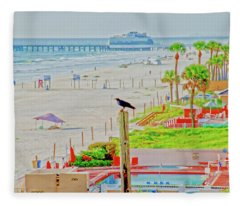 Beach Bird On A Pole Fleece Blanket