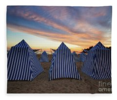 Beach Cabins Fleece Blanket