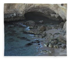 Beach Cave From The Cliffs In Malhada Do Baraco Fleece Blanket