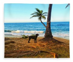 Beach Dog  Fleece Blanket