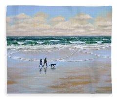 Beach Dog Walk Fleece Blanket