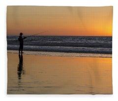 Beach Fishing At Sunset Fleece Blanket