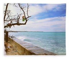 Beach Front View Fleece Blanket