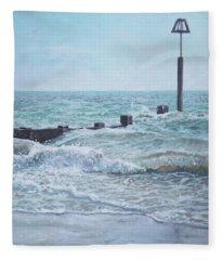 Beach Groin With Autumn Waves Fleece Blanket