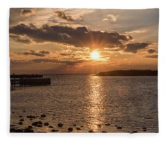 Beach Haven Nj Sunset January 2017 Fleece Blanket