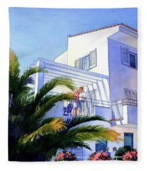 Beach House At Figueres Fleece Blanket