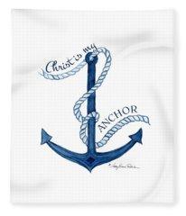 Beach House Nautical Ship Christ Is My Anchor Fleece Blanket