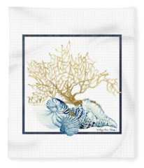 Beach House Nautilus Scallop N Conch With Tan Fan Coral Fleece Blanket