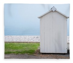 Beach Hut By The Sea Fleece Blanket