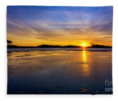 Beach Inlet Sunrise Fleece Blanket