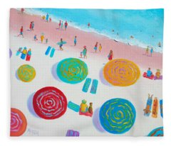 Beach Painting - A Walk In The Sun Fleece Blanket