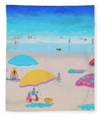 Beach Painting - Ah Summer Days Fleece Blanket