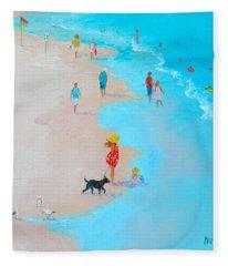 Beach Painting - Beach Day - By Jan Matson Fleece Blanket