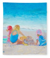 Beach Painting - Building Sandcastles Fleece Blanket