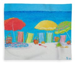 Beach Painting - Deck Chairs Fleece Blanket