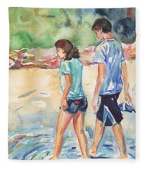 Beach Painting In Watercolor  No Shoes Required Fleece Blanket