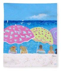 Beach Painting - Lazy Summer Days Fleece Blanket