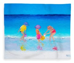 Beach Painting - Water Play  Fleece Blanket