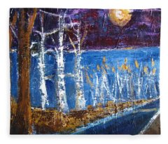 Beach Path At Night Fleece Blanket