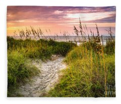 Beach Path Sunrise Fleece Blanket