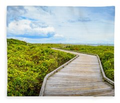 Beach Picnic Shelter Boardwalk Fleece Blanket