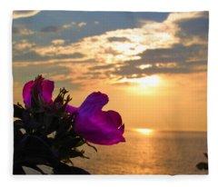 Beach Roses Fleece Blanket