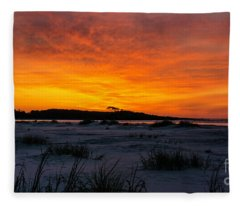 Beach Sunrise Cherry Grove Point Fleece Blanket