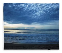 Beach Sunset - Blue Clouds Fleece Blanket