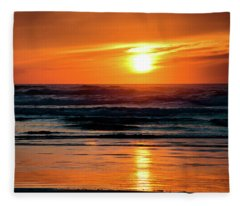 Beach Sunset Fleece Blanket