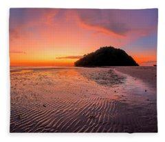Fleece Blanket featuring the photograph Beach Sunset In Kudat, Malaysia by Pradeep Raja PRINTS