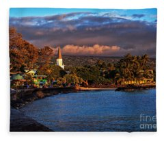 Beach Town Of Kailua-kona On The Big Island Of Hawaii Fleece Blanket