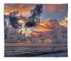 Beach Walk - Florida Seascape Fleece Blanket