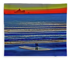 Beach Walking At Sunrise Fleece Blanket