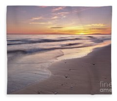 Beach Welcoming Twilight Fleece Blanket