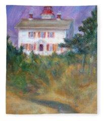 Beacon On The Hill - Lighthouse Painting Fleece Blanket