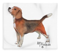 Beagle Watercolor Painting By Kmcelwaine Fleece Blanket