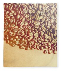 Bean Background With Coffee Space Fleece Blanket
