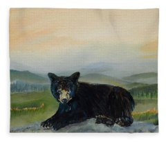 Bear Alone On Blue Ridge Mountain Fleece Blanket
