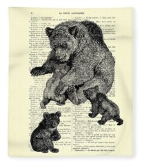 Bear And Cubs Black And White Antique Illustration Fleece Blanket