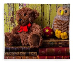 Bear And Owl On Old Books Fleece Blanket
