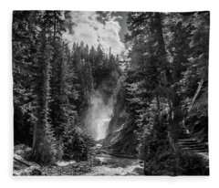 Bear Creek Falls As Well Fleece Blanket