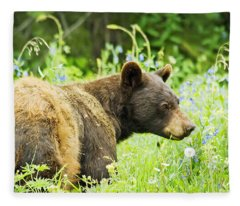 Bear In Flowers Fleece Blanket