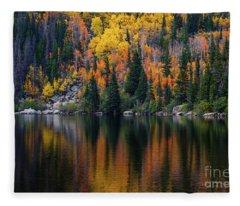Bear Lake Autumn Reflections Fleece Blanket